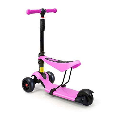 Toddler Scooter Seat Great Boys Girls Adjustable Height PU Flashing Children 2 to Year-Old