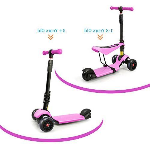 XJD Extra-Wide Wheels Kick Scooter for Toddler with Seat Great Boys Adjustable PU Flashing Children 2 to