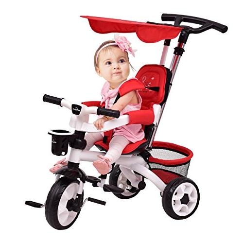 Costzon in 1 Twins Kids Trike Toddler Tricycle Safety Double Rotatable w/Basket