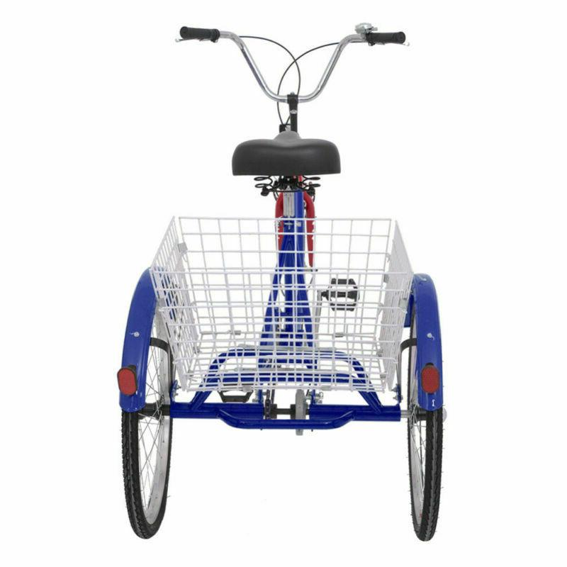16/20/24/26inch 3Wheel Adult Tricycle W/Basket Bicycle