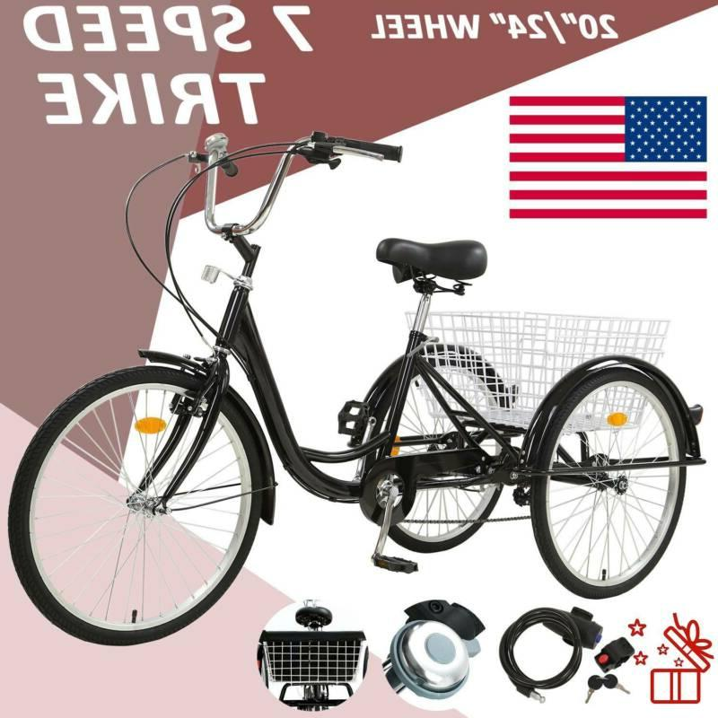 20 24 26 adult 7 speed tricycle