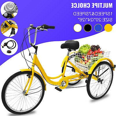 "20/24/26"" Adult Tricke 1/7 Speed 3-Wheel Adult Tricycle Bicy"