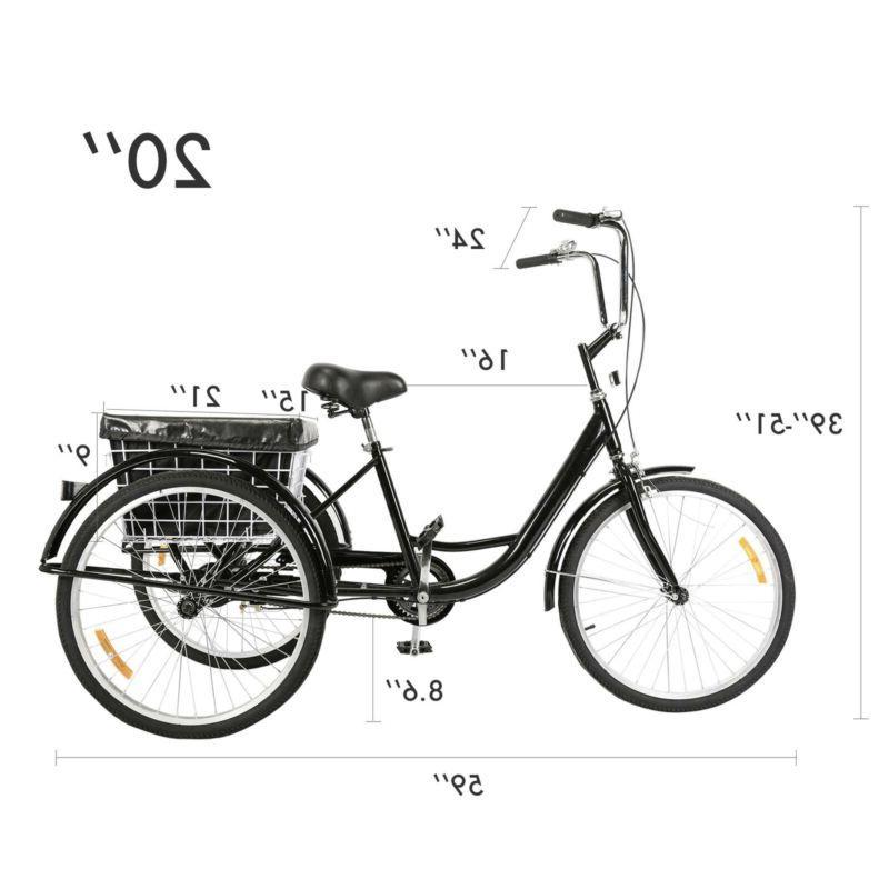 Speed Tricycle 3-Wheel Bike w/Basket Shopping
