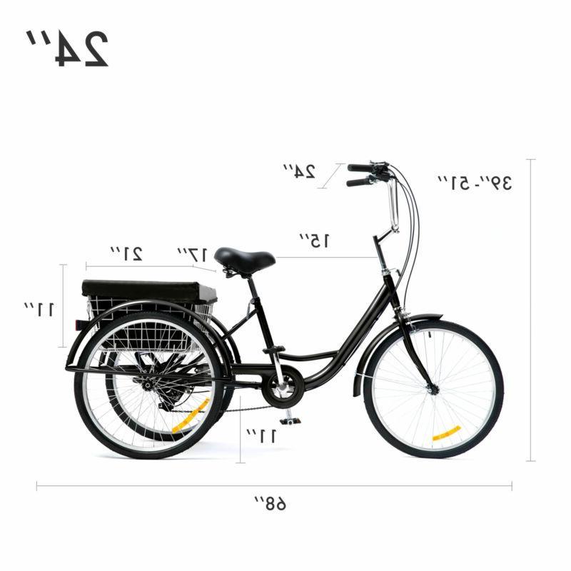 24 Inch Trike Speed Adult Tricycle 3-Wheel Blue