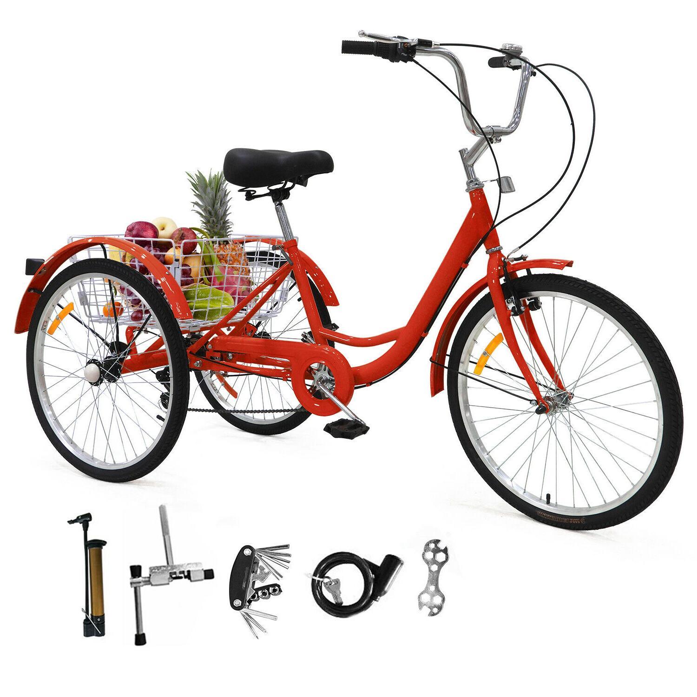 "24""/ 26"" Tricycle 3 Trike Bicycle Shopping Basket+Pump"
