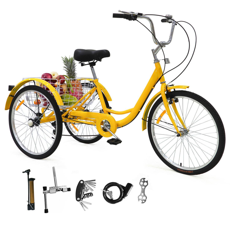 """24""""/ 26"""" Tricycle Bicycle W/ Basket+Pump"""
