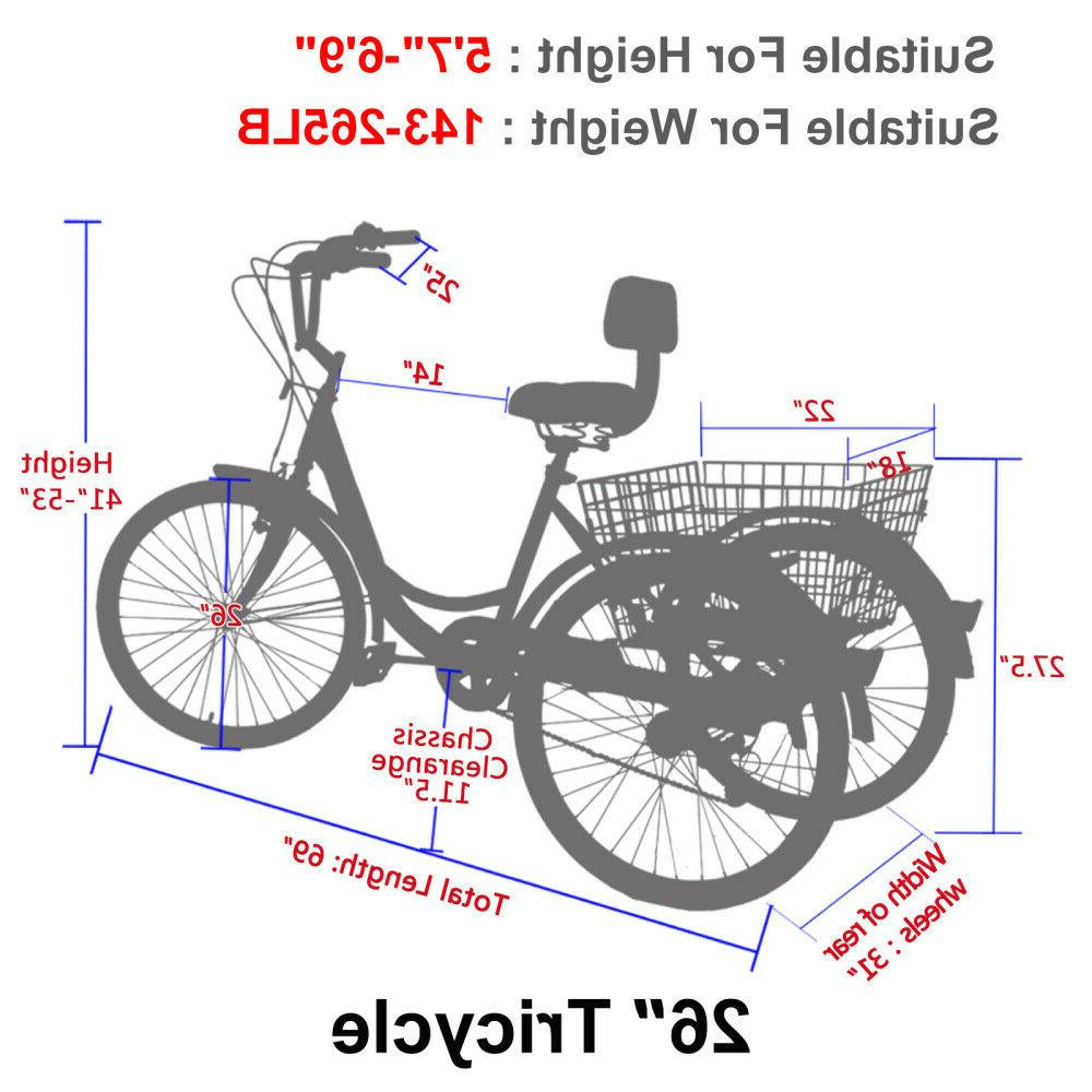 16/20/24/26inch Bike Adult Tricycle Bicycle