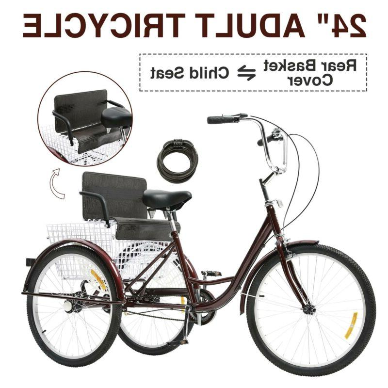 24 3 wheel adult tricycle w child
