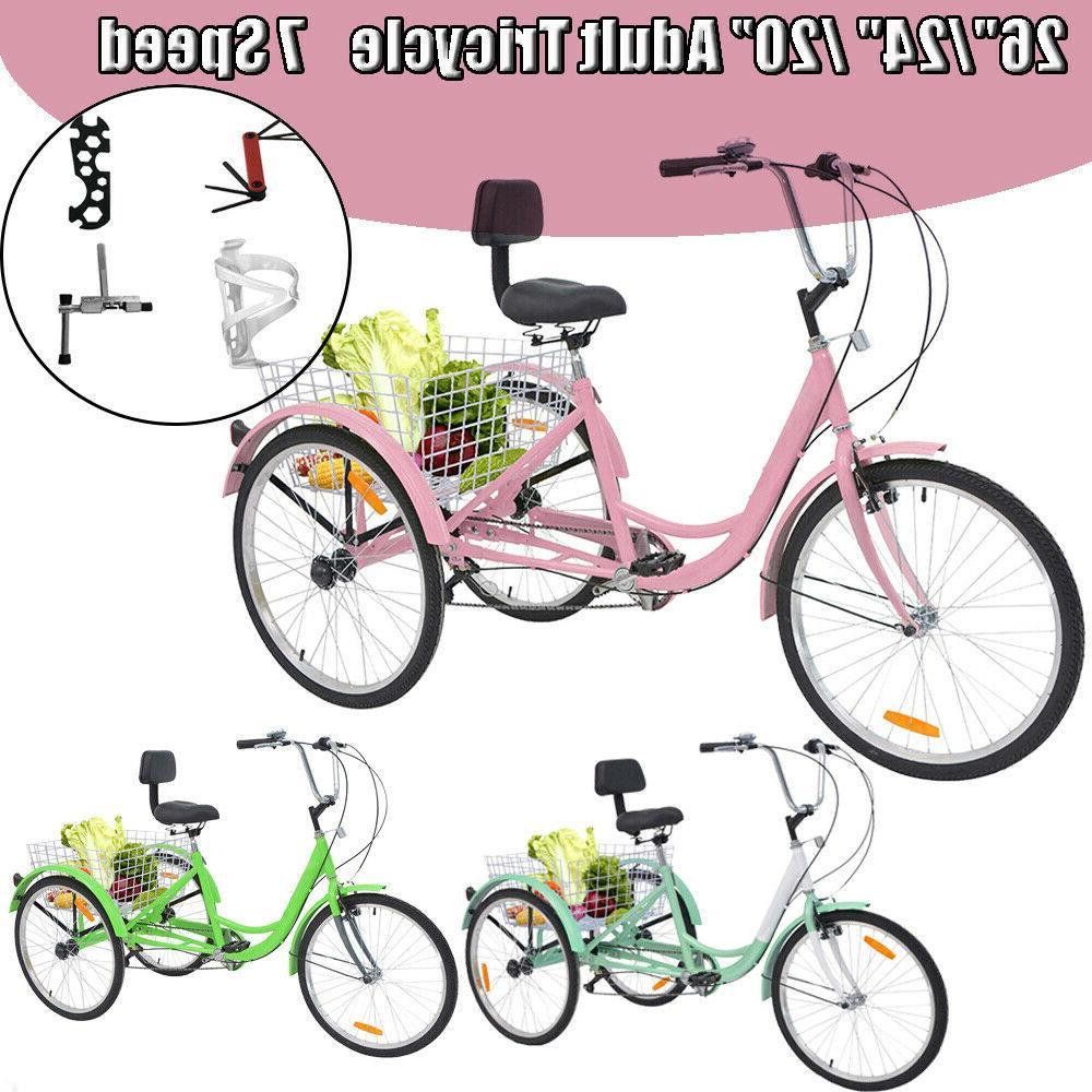 "【US Stock】Adult Tricycles 7-Speed 24"" 3-Wheel Bikes Crui"