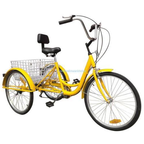 "24"" Adult Bicycle Speed B/Y/W"