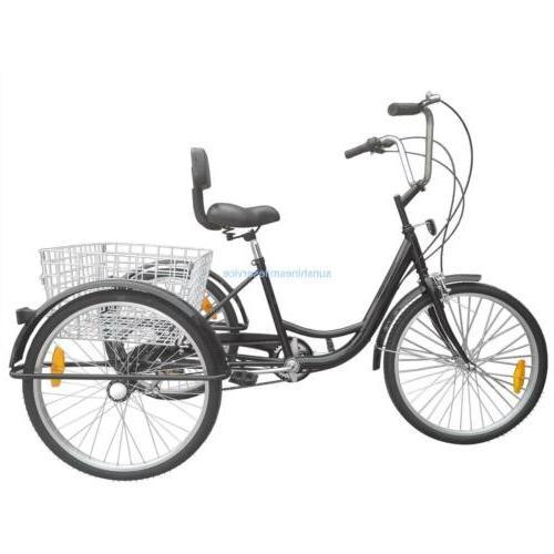 """24"""" Adult Bicycle Bike Tricycle Speed B/Y/W"""
