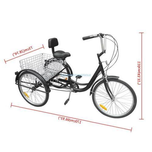 "24"" Adult Bicycle Bike Tricycle Speed Cruiser Beach B/Y/W"