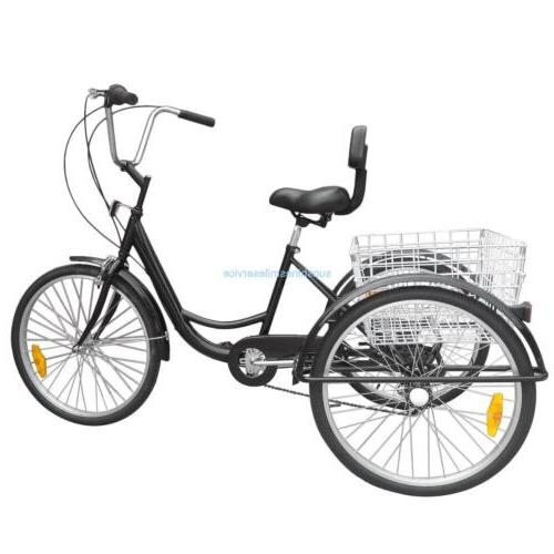 "24"" Adult 3 Bicycle Speed Cruiser B/Y/W"