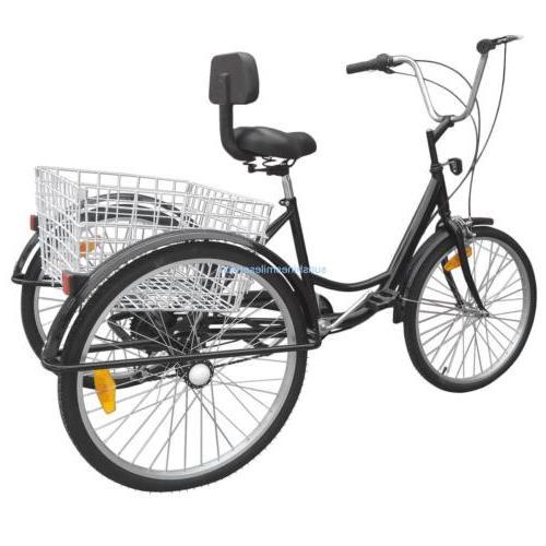 "24"" Adult Bicycle 6 Speed Beach B/Y/W"