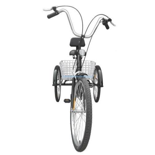 """24"""" Adult 3 Bicycle Tricycle Speed Basket B/Y/W"""