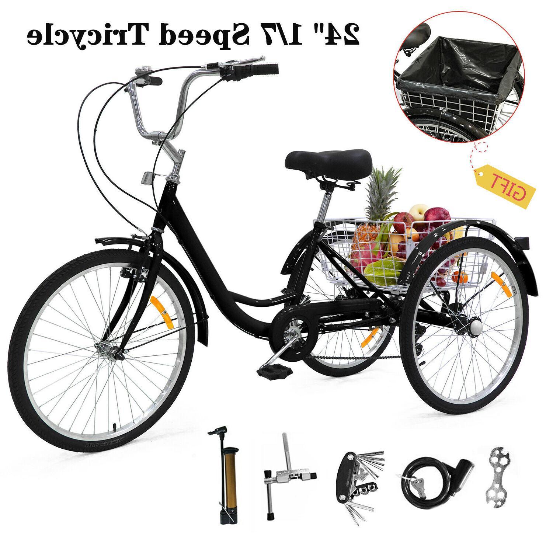 """24"""" Speed 3 Bicycle Bike w/Shopping US"""