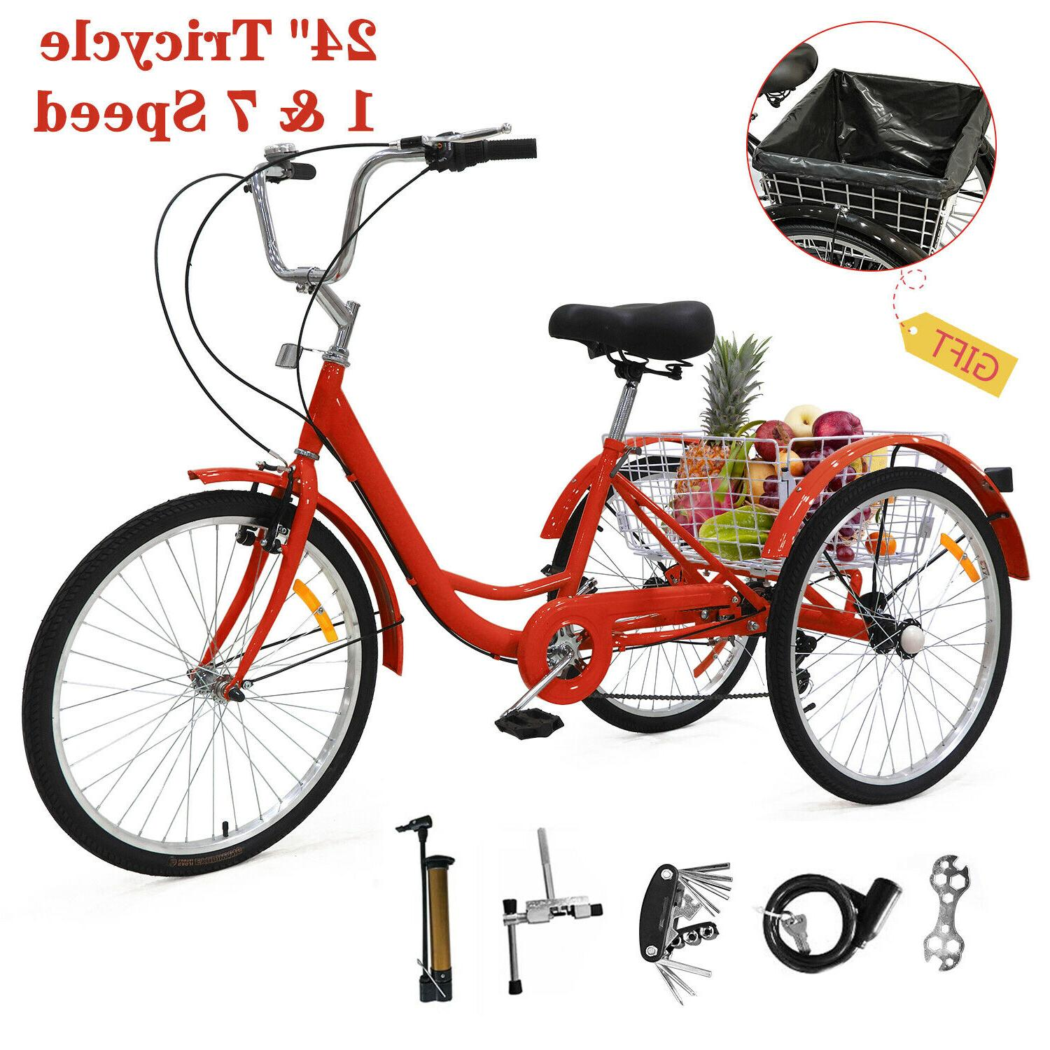 24 adult tricycle 1 and 7 speed