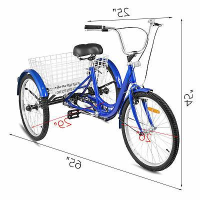 24'' Adult 3 Wheel Blue Basket 330LBS Shopping Bicycles