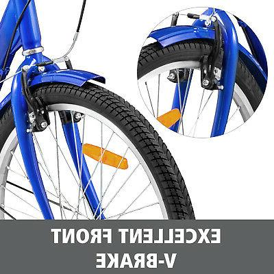 24'' Tricycle 1-Speed 3 Wheel Blue Basket 330LBS Shopping