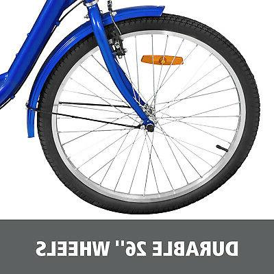 24'' Adult Tricycle 3 Blue Large Basket Shopping