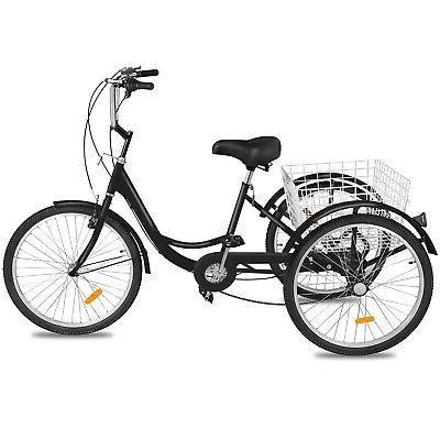 """Adult Tricycle 3-Wheels Trike 24"""" 7-Speed Bike Bicycle Black"""