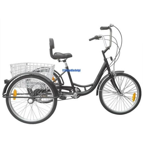 "24"" 6 Speed Bicycle Trike Backrest Cruiser Basket"