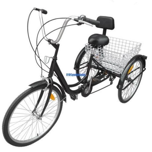 """24"""" Adult 6 Speed Trike Backrest Cruiser Basket"""