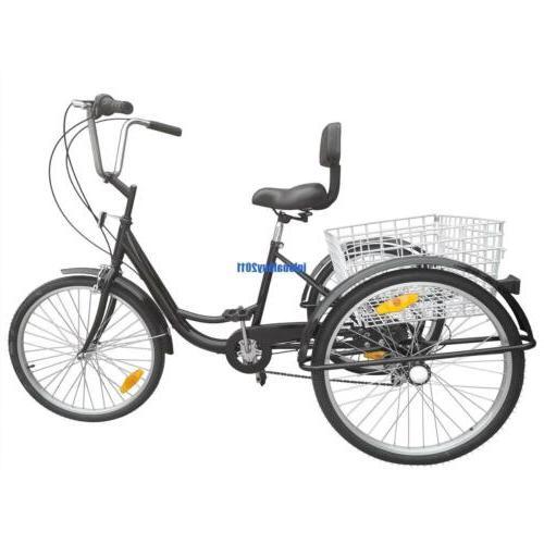 """24"""" Tricycle 3-Wheel 6 Speed Bicycle Trike Backrest"""