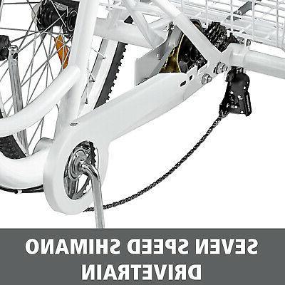 Adult 7 Speed White Bicycle Trike Cruiser w/