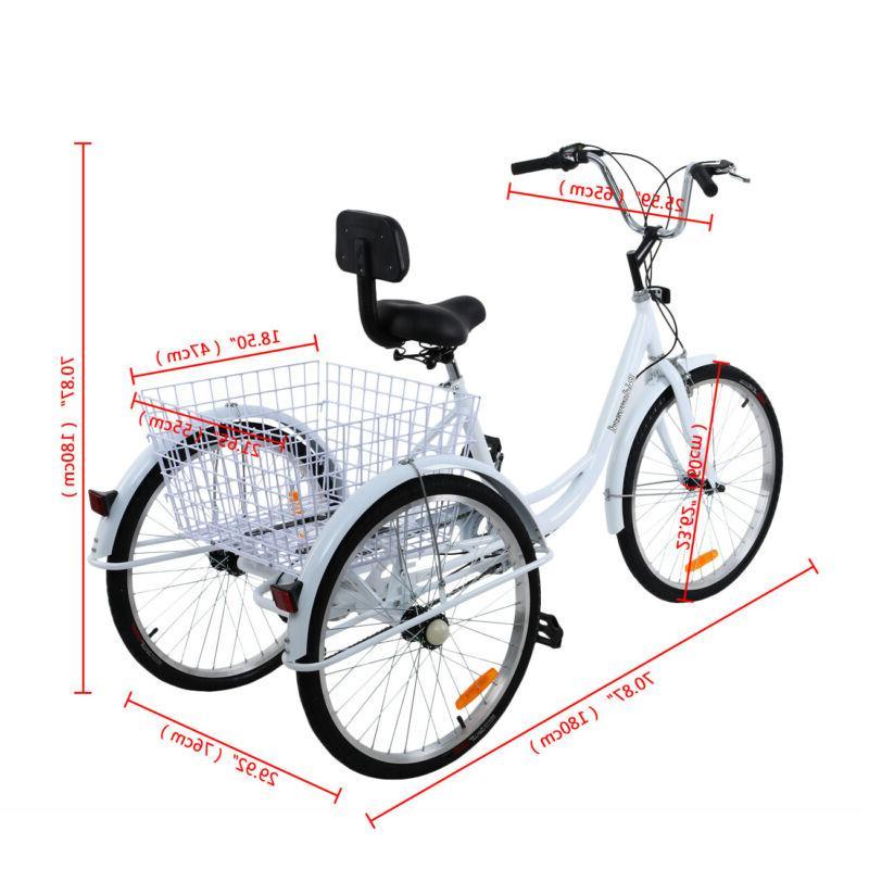 Ridgeyard 3-Wheel Shimano Speed Bicycle Cruiser White