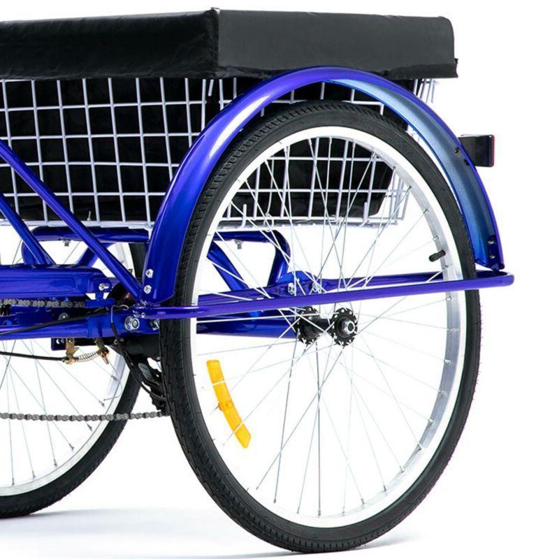 24 Inch Speed Adult Bike w/Basket for Blue