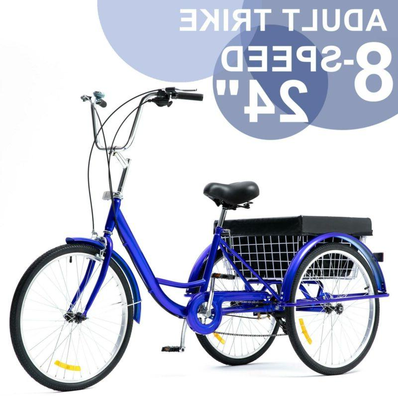 24 inch trike 8 speed adult tricycle