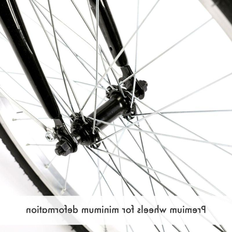 "26""/24""/20"" Trike 8 Speed Adult Tricycle 3-Wheel Bike w/Basket for Shopping"