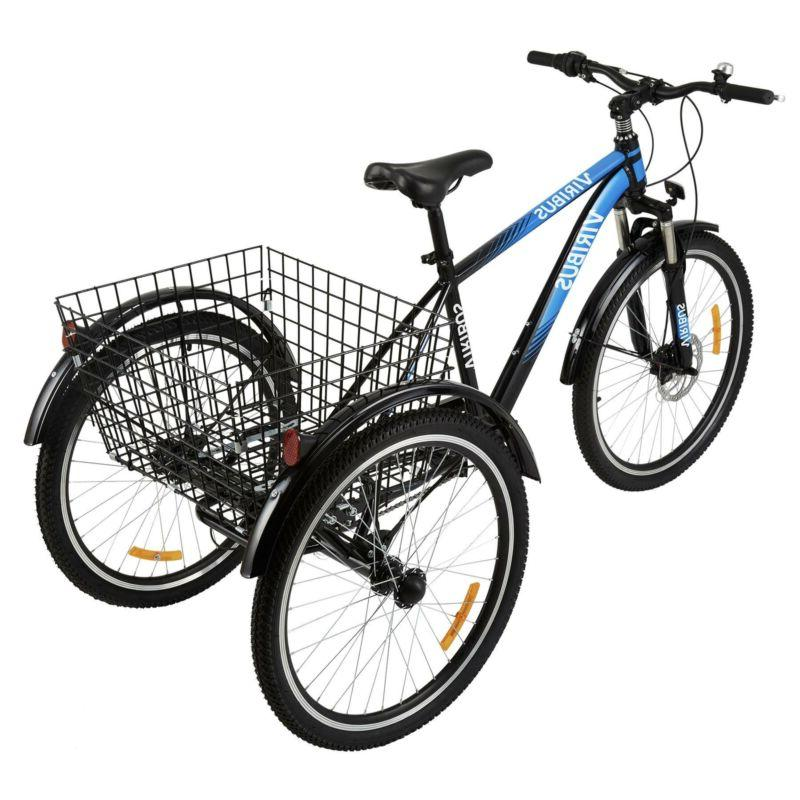 "26"" 7-Speed Tricycle Three-Wheel Trike Basket"