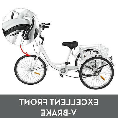 Adult 7 Wheels White Bicycle w/