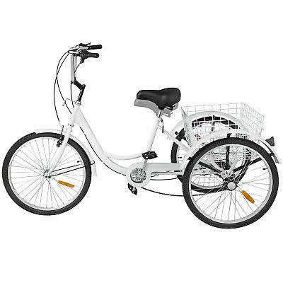 Adult Tricycle 7 Speed 3 Wheels White w/