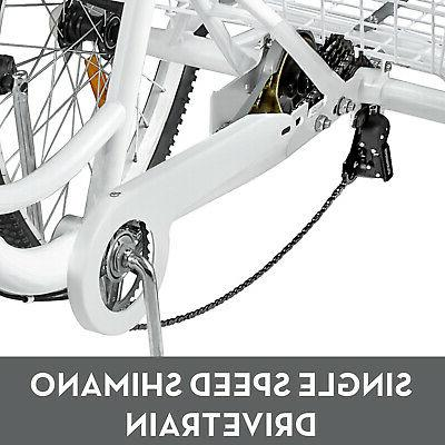 Adult Tricycle Wheel 7 White Bicycle Cruiser w/ Basket