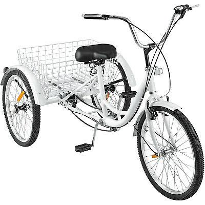 Adult Tricycle Wheel 7 White Bicycle Cruiser w/