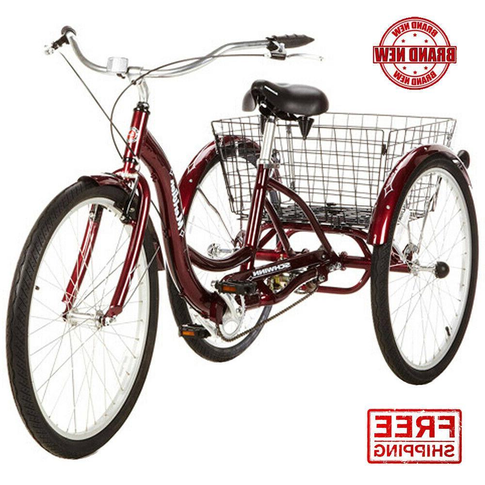 "26"" Schwinn Meridian Adult Tricycle Easy Step on Folding Bas"