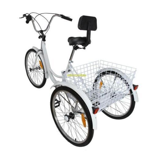 "3-Wheel 24"" Tricycle Adult Bike 6-Speed W/ Basket White"