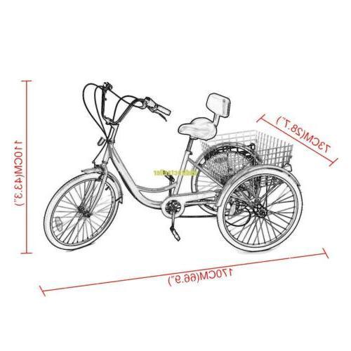 3-Wheel Tricycle Adult Bike 6-Speed W/