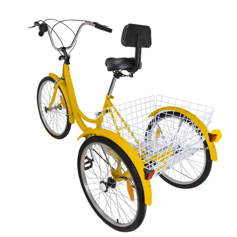Yellow 6-Speed Wheel Adult Tricycle Cruise with