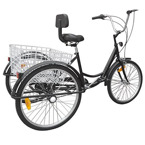 Ridgeyard 3 Cycling Pedal Tricycle Trike Bike w/Shopping Basket Black
