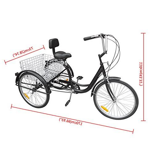 Ridgeyard 24 Inch 3 Tricycle Pedal Cruiser Bicycles Basket