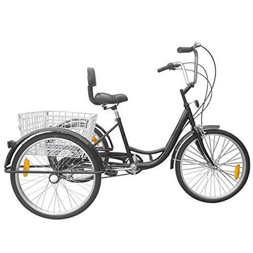 Ridgeyard 6 Inch 3 Tricycle Cycling Cruiser with Basket