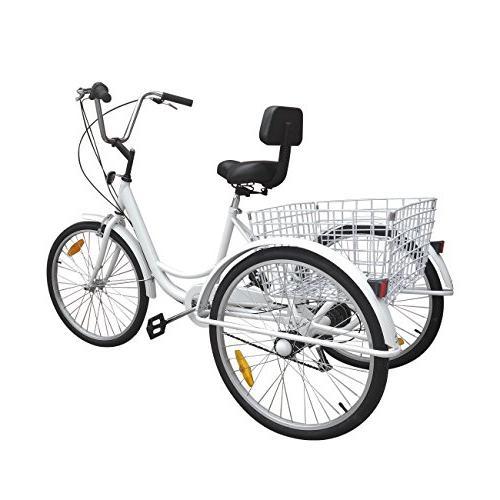 Iglobalbuy White 24-Inch Adult Tricycle Trike 3-Wheel Bike Cruise Basket
