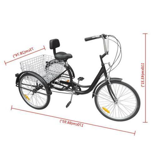 3-Wheels Trike Adult Tricycle 6-Speed Beach Cruiser Basket