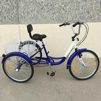 """3-Wheels 24"""" Tricycle 7-Speed Basket Bicycle"""