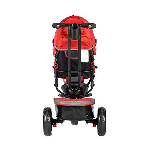 Push Tricycle Kids, Stroller Convertible, Swivel Seat, Reclining Safety Full Canopy, LED Bin