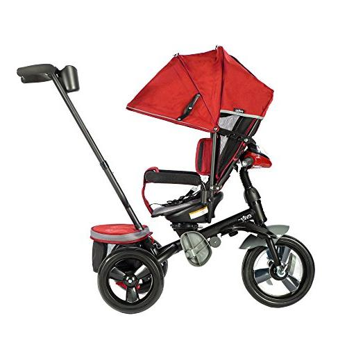 Evezo 302A Push Tricycle Kids, Stroller Trike Swivel Seat, Safety LED Bin
